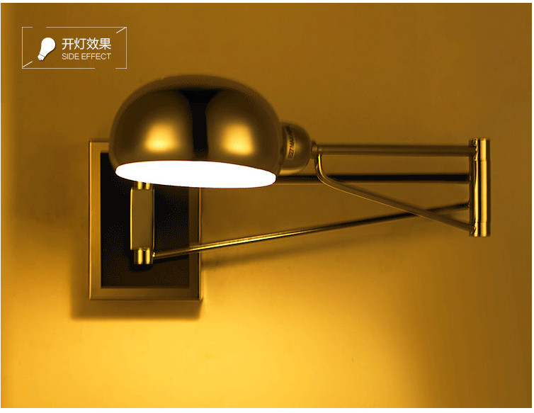 Chrome Modern Swing Arm Wall Lamp Flexible Mirror Bedside Bathroom Bedroom Reading Studying Wall Sconce Lampada