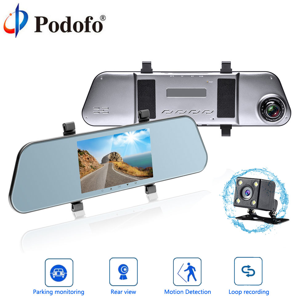 Podofo Car DVR Auto 5 Rearview Mirror Digital Video Recorder Dual Lens Camcorder Full HD 1080P dvr car Rear view Backup Camera plusobd best car camera for bmw 5 series e60 e61 rearview mirror camera video recorder automobile car dvr cheapest camcorder