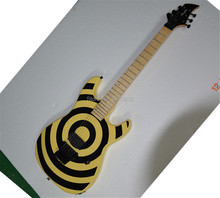 Free shipping 2018 Hot selling ST Guitar Yellow Black Circle 6 Strings Electric Guitar Floyd rose  Electric Guitar недорго, оригинальная цена