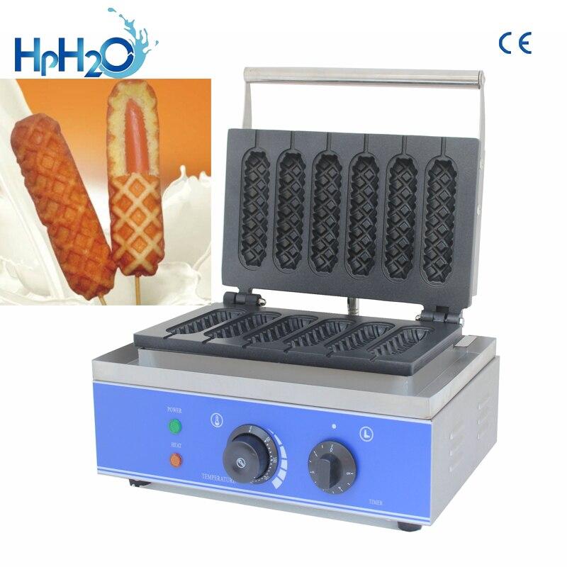 Коммерческий антипригарный 6 палочек Электрический французский Маффин вафельный хот дог устройство Lolly вафельница хрустящая палочка машин