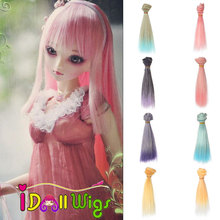 1pcs 15*100cm colorful ombre short straight doll hair for 1/3 1/4 1/6 BJD diy material