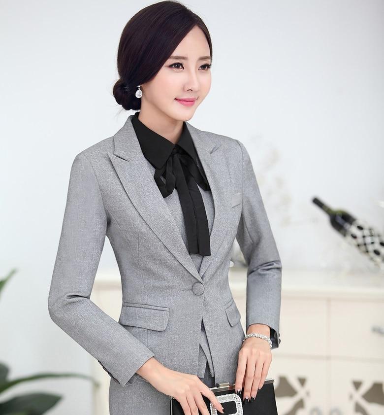 Novelty Grey Professional Business Women Blazer Coat Jackets Ladies Tops Blaser Feminino Clothing Uniform Style Elegant S 4XL