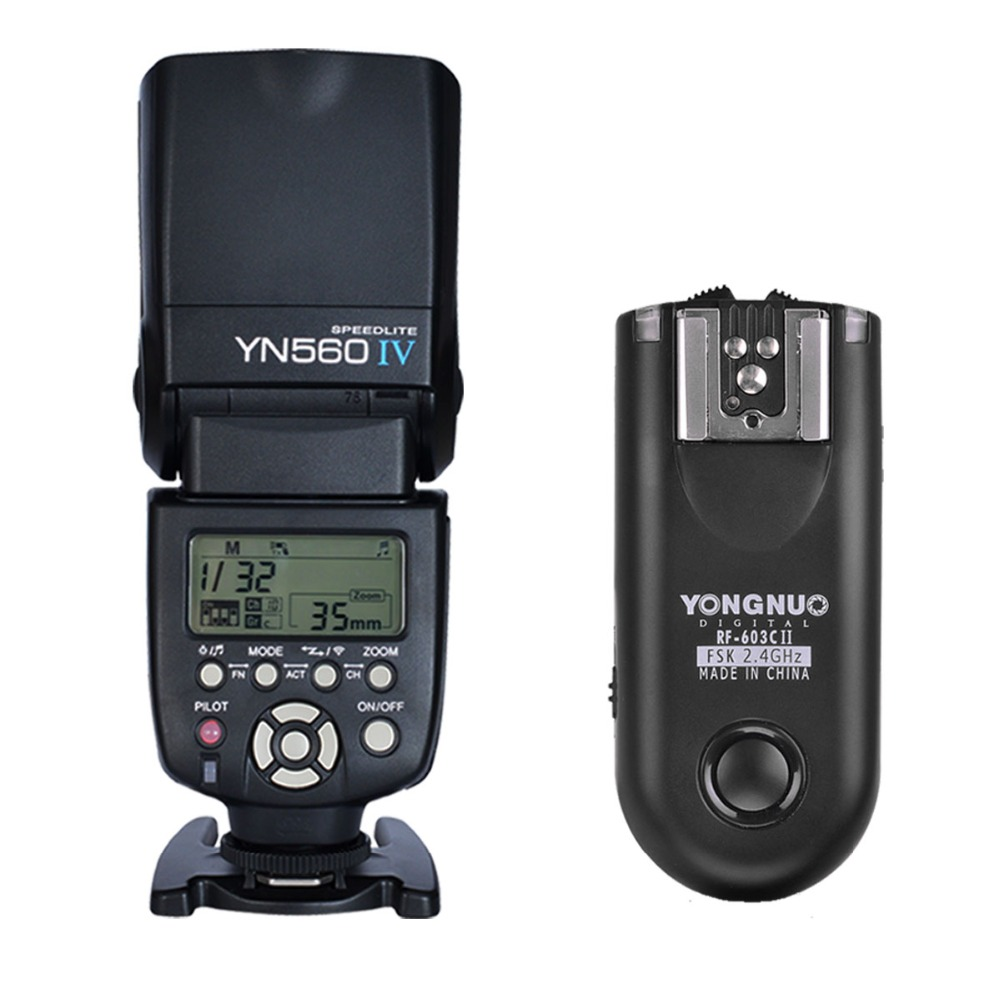 YONGNUO YN560 IV,YN-560 IV Master Radio Flash Speedlite + RF-603 II Flash Trigger for Canon yongnuo yn560 iv yn560iv wireless master radio flash speedlite 2pcs rf 605c rf605 lcd wireless trigger for canon dslr cameras