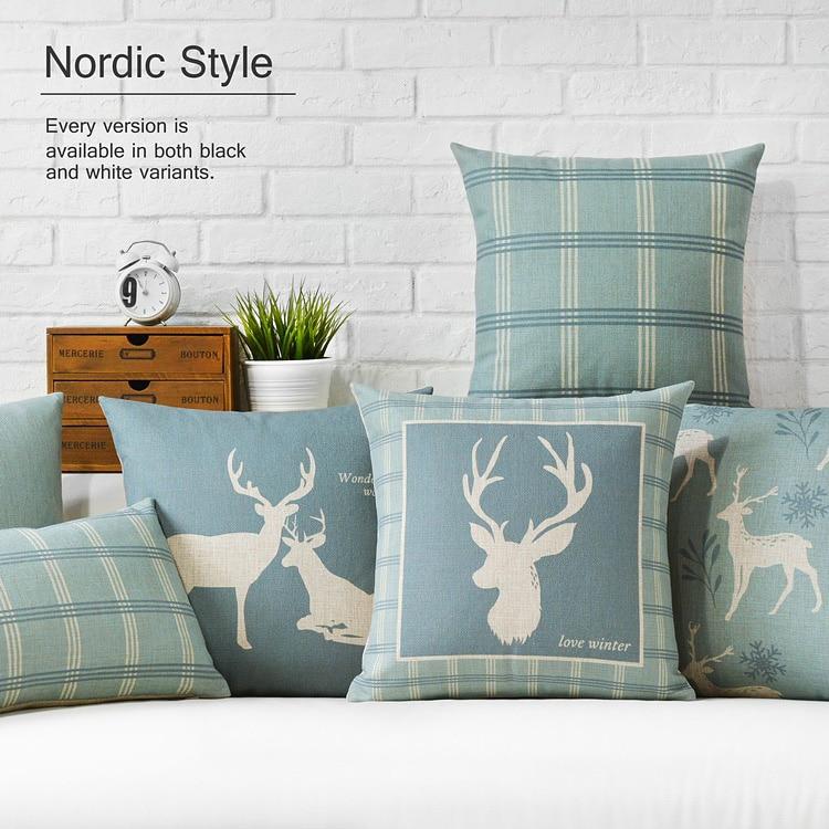 Blue Deer Cushion Nordic Pastoral  Deer Pillow Cushion Linen Pillowcase Sofa Cushions Home Decorative Pillows