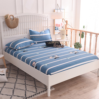 Blue White Striped Pattern 3pc Cotton Soft Fitted Sheet Mattress Cover Bedding Linens Bed Sheets With Elastic Band Double 6 Size