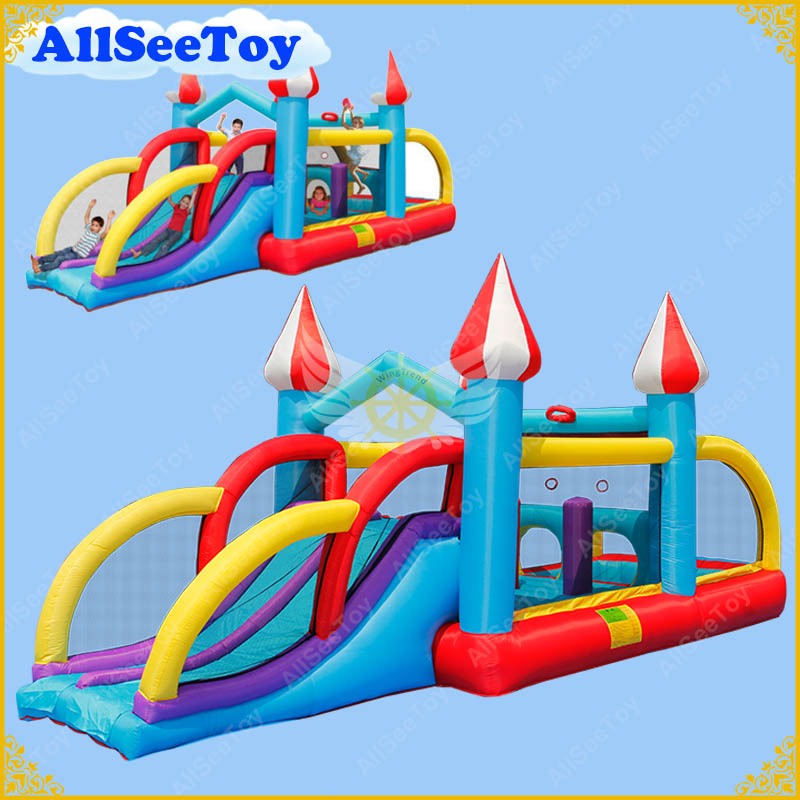 Inflatable Jumping Castle Combo Water Slide,Bounce House and Ball Pool for Kids,Bouncy Castle with Air Blower серьги expression jewelry серебряные серьги пусеты запятые