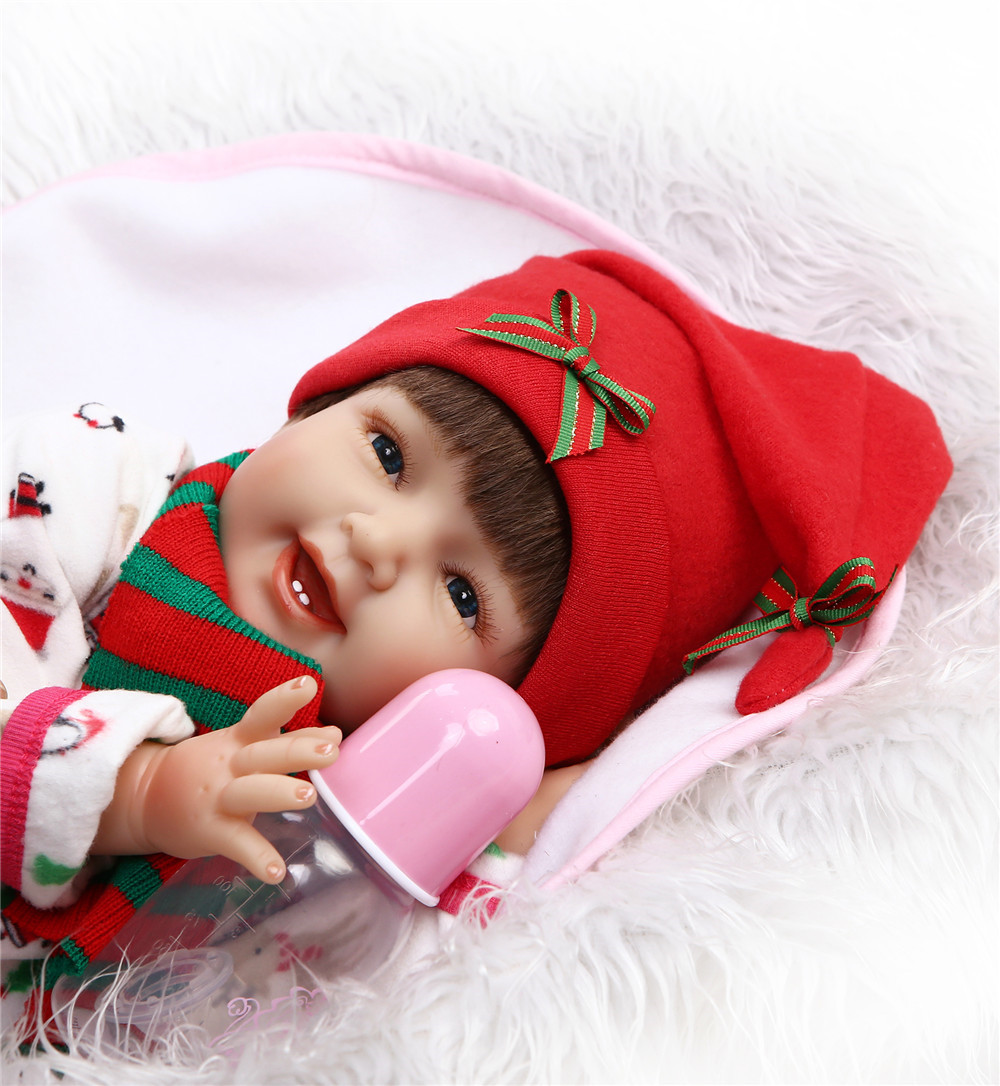 Smiley face reborn babies 22NPK soft body silicone reborn dolls for children bebe gift fake baby real alive new alive babies