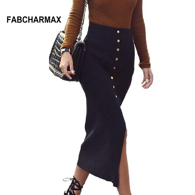 a0fe7c08a € 14.44 35% de DESCUENTO|FABCHARMAX alta cintura lápiz midi falda botones  Oficina señora sexy Delgado negro faldas mujeres elegante saia midi ...
