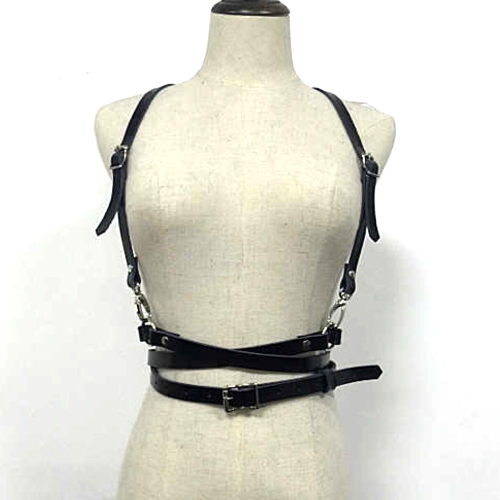 Women Sexy Harajuku O-Ring Garters Faux Leather Women Body Bondage Cage Sculpting Harness Waist Belt Straps Suspenders Belt