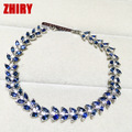 ZHHIRY Natural Sapphire Gem Stone Bracelet Deep Blue Solid Sterling Silver Women Prom Real Party Fine Jewelry