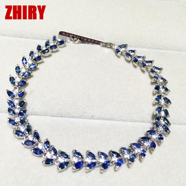 ZHHIRY Natural Sapphire Jóia Pulseira Pedra Azul Profundo Mulheres Prom Real Do Partido Fine Jewelry Prata Esterlina Sólida