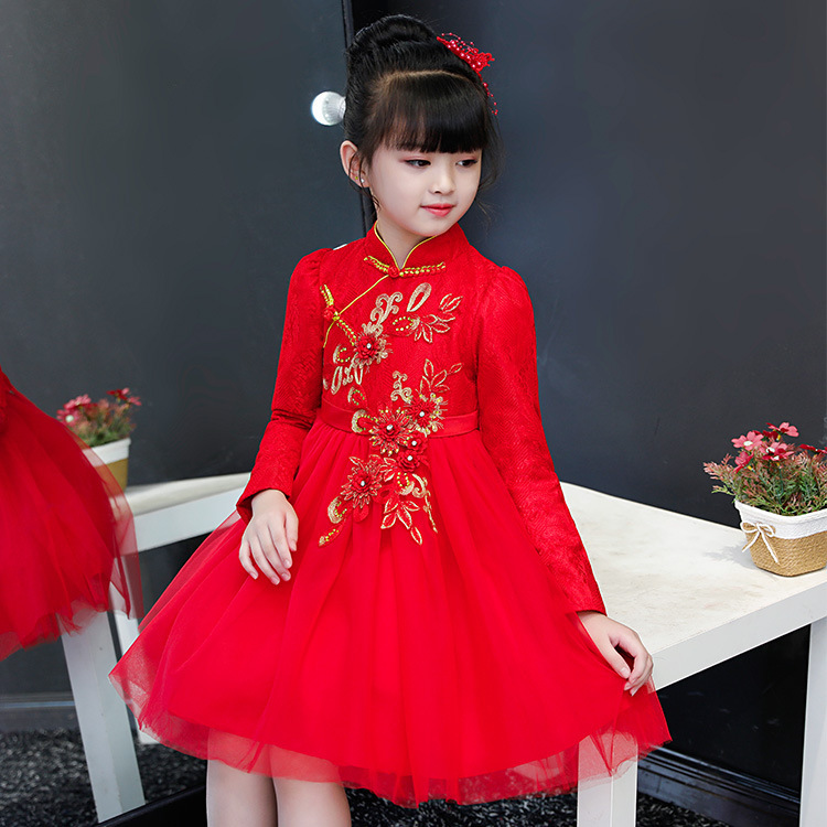 0229e02fee28d Lace Baby Cheongsam Cotton Girls Chinese New Year Red Embroidery Dress Kids  Asian Style Dresses Qipao Winter Chipao Costume