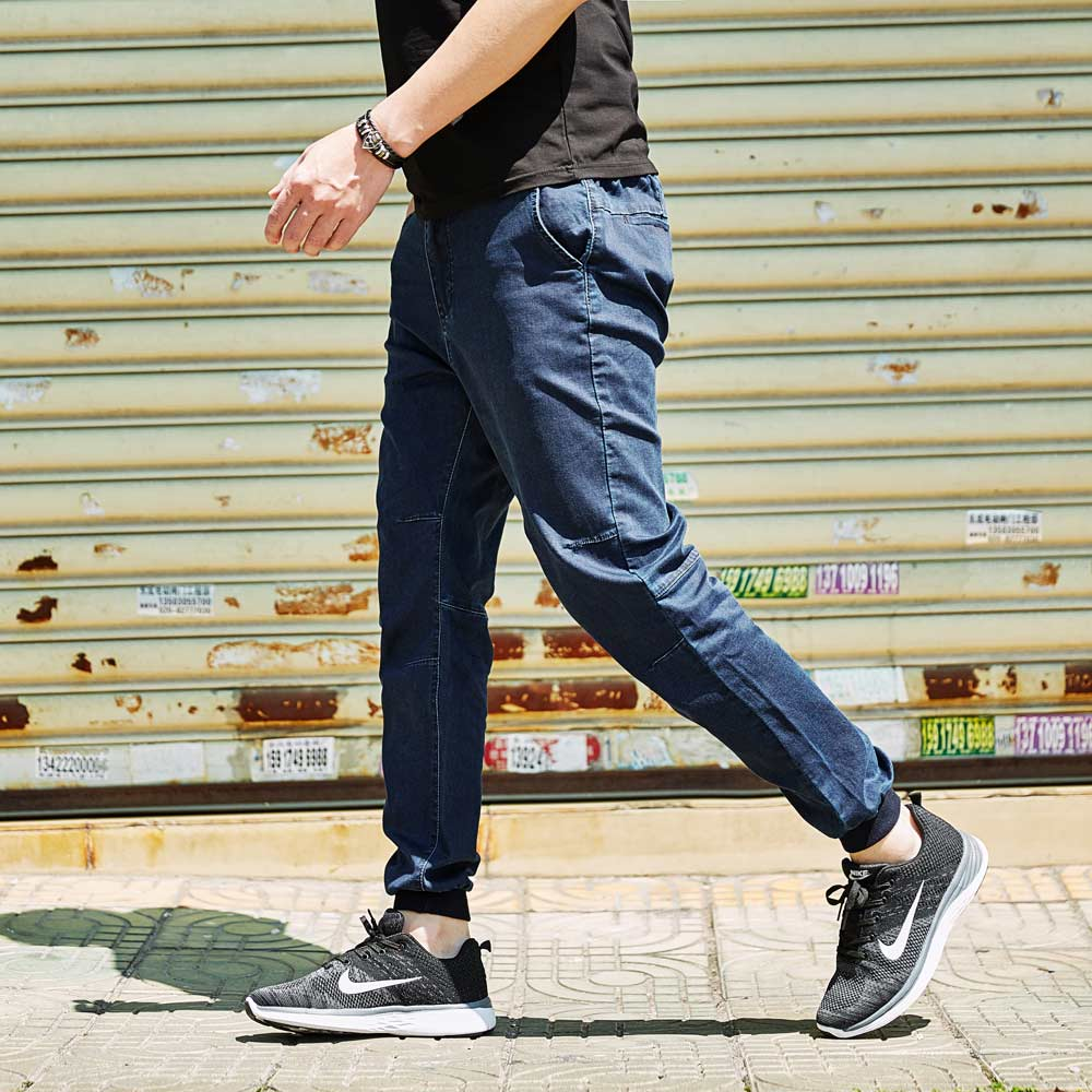 Plus Size Men Pencil Jeans Black Blue Autumn 2017 Drawstring Wasit Quality Denim Joggers Pant Oversize Stretch L-6XL(32-50)