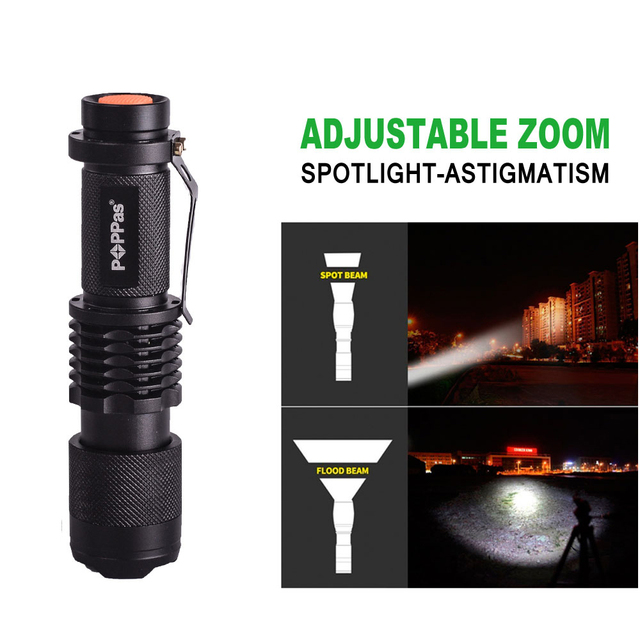 POPPAS Zoom cree XML T6 L2 Led Flashlight 5 mode Torch 4