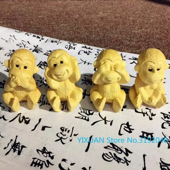Boxwood wood carving four no monkey do not listen to do not move, do not see four do not monkey cart ornaments. фото
