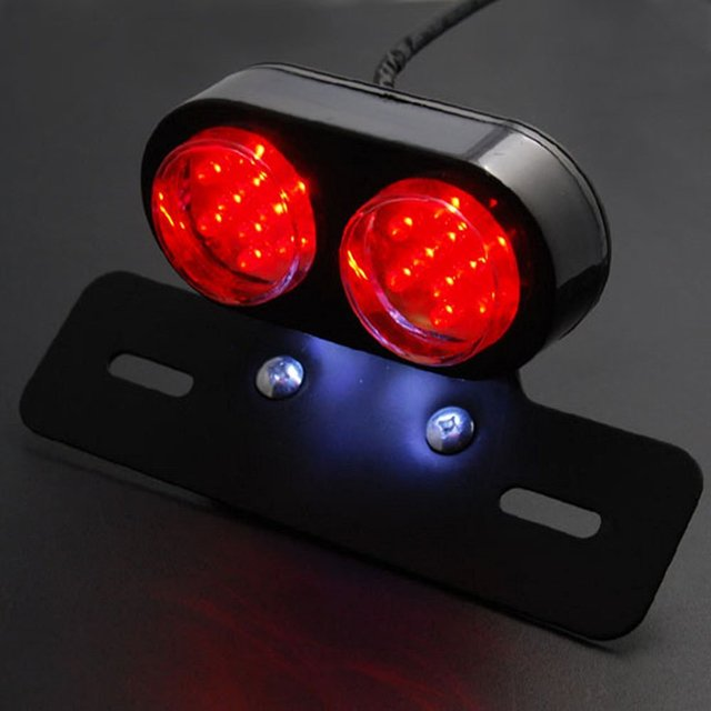 Motorcycle LED Integrated Dual Lens Tail Brake Brake Stop Running License Plate Light Fender Holder Mounting Bracket 8z1607