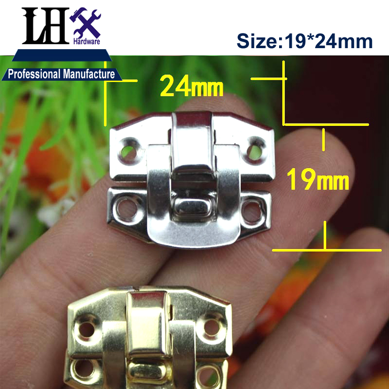 LHX 4pcs/lot Gold Silver Hasp Lock for Jewelry Gift Box Wood Case Cabinet Furniture Hardware Decorative Protector DIY i