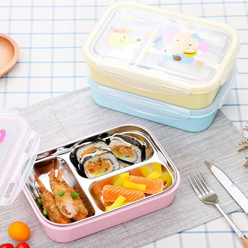 Bear Cavalier 3 Color Cartoon 304 Stainless <font><b>Steel</b></font> Boxed Lunch Boxs Children Students Insulation Bento Box Fast Food Tableware