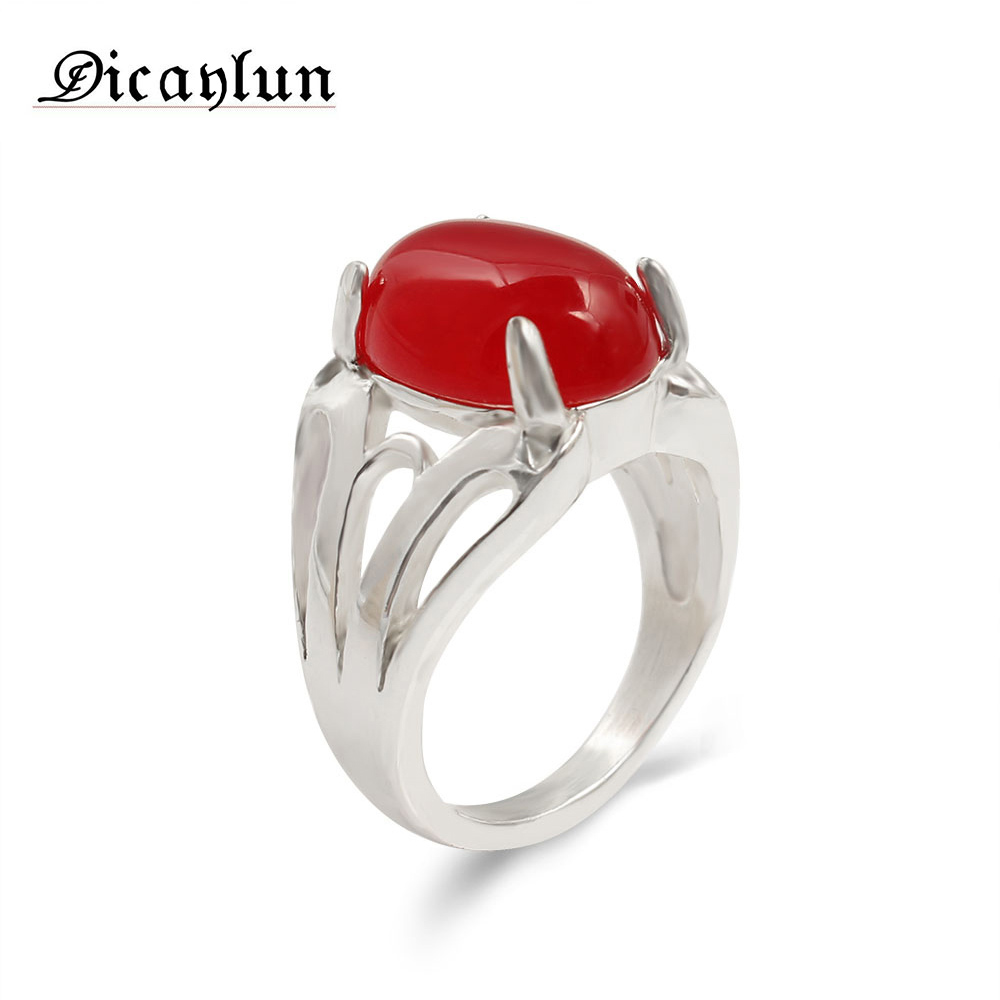 Natural Red Stone Stainless Steel Ring Vintage Men Ring Women Silver Color Antique Fashion Jewelry Finger Rings