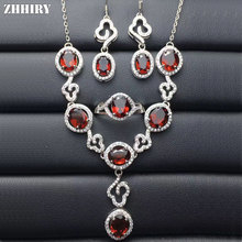 ZHHIRY Real Mozambique Garnet 925 Standard Silver Jewelry Sets Ring Earring Necklace Fine Gemstone Wedding Party Jewelery Set