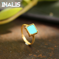 INALIS Statement 925 Sterling Silver Ring Single Square Turquoise Gold Plated Fine Jewelry for Women Bridal Wedding Party Bijoux