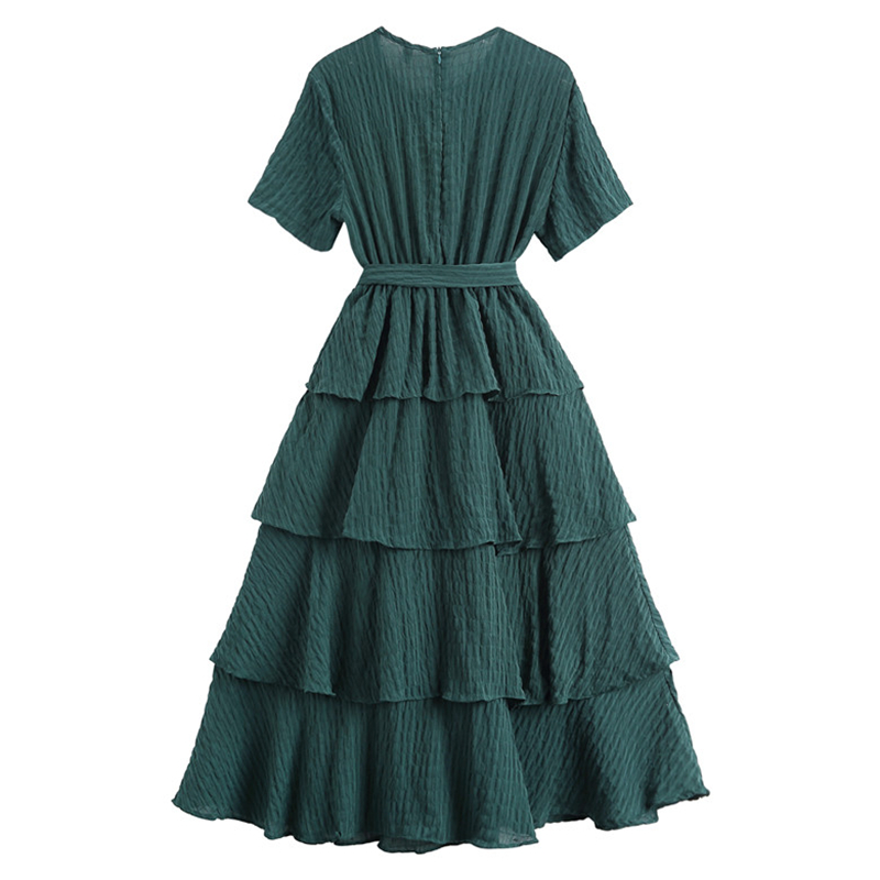 2018 New Summer Solid O-neck Vacation Beach Dress Women Elegant OL Vintage Cotton Loose Dresses High Quality Long Dress vestido 5
