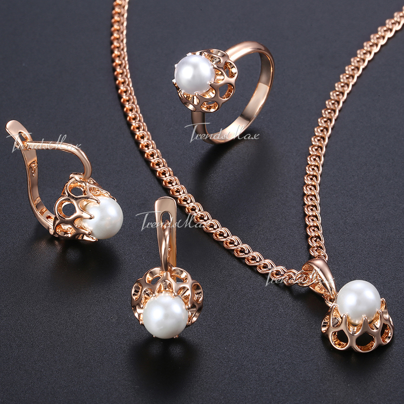 Earrings Ring Pendent Necklace Set For Women Pearl Bead Ball Rose Gold Filled Simulated Pearl Bead Ball 585 Jewelry Sets GE142