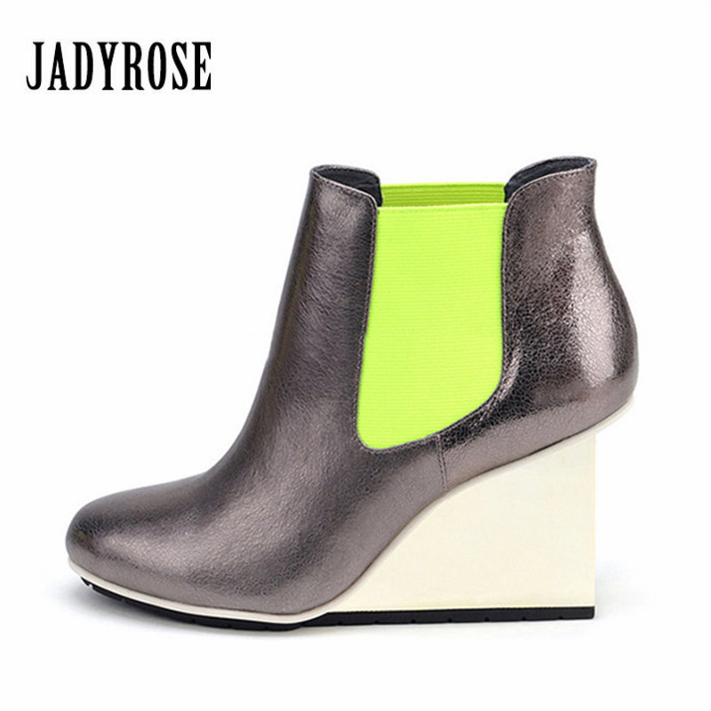 Jady Rose New Fashion Women Ankle Boots Slip On Strange Heel Wedges Autumn Botas Mujer High Heel Wedge Shoes Woman Women Pumps strange heel women ankle boots genuine leather elastic booties wedge shoes woman high heels slip on women platform pumps