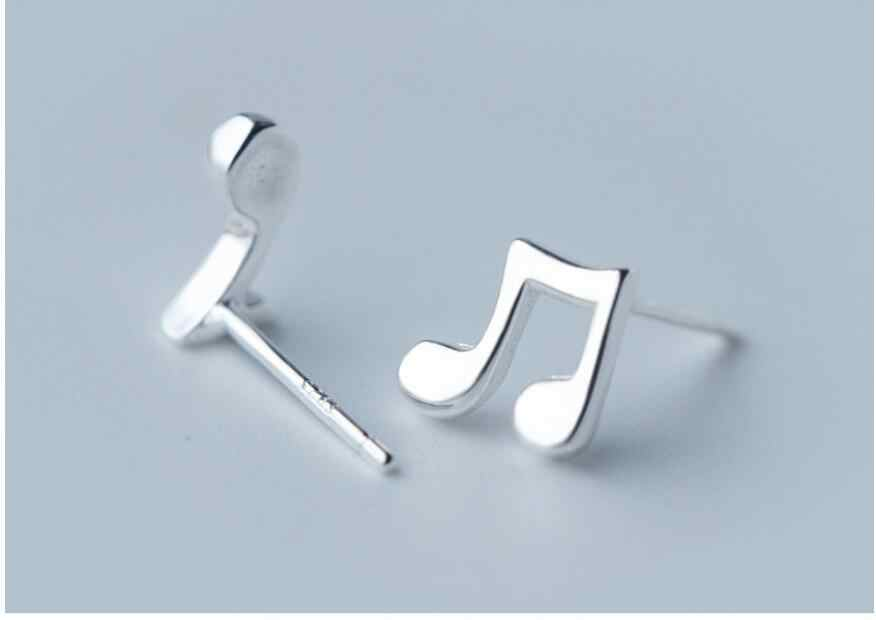100% 925 Sterling Silver Music Stud Earrings For Women Sterling-silver-jewelry pendientes mujer moda 2018 A087