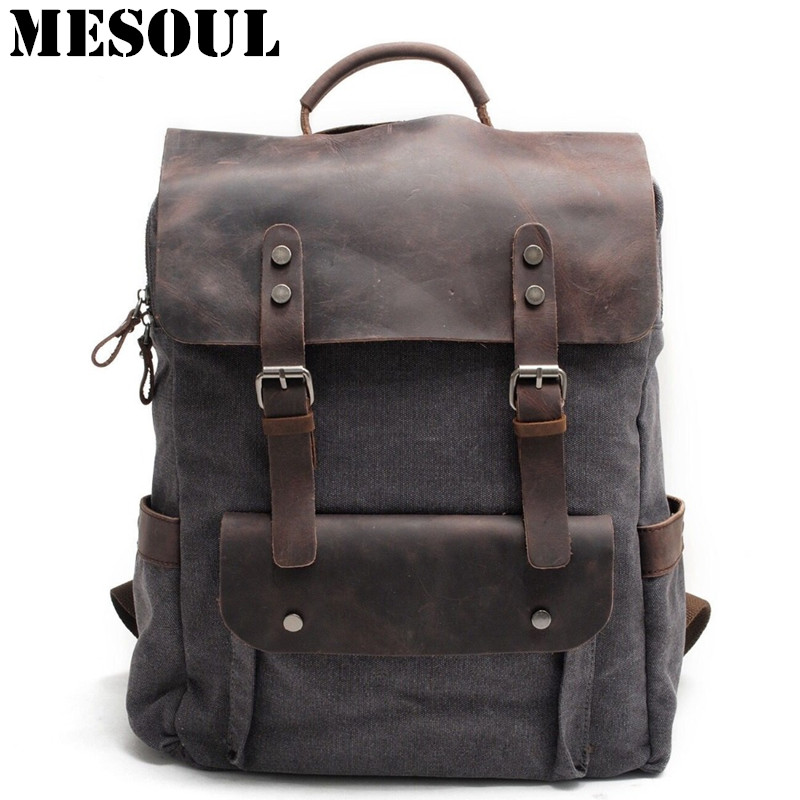 Men Canvas backpack School Bags Laptop Backpack Male Vintage Military Crazy Horse Leather Shoulder Travel Bag Backpack Schoolbag male bag vintage cow leather school bags for teenagers travel laptop bag casual shoulder bags men backpacksreal leather backpack