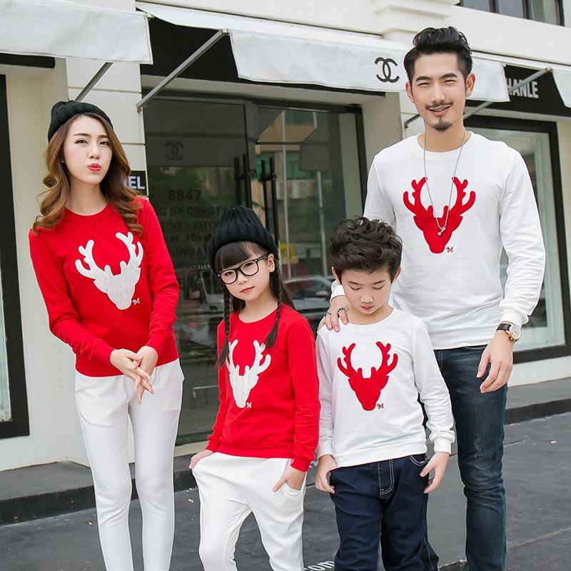 Rahat Aile Eşleştirme Kıyafet Bakmak Noel Geyik Tops Giyim Aile - Çocuk Giyim - Fotoğraf 1