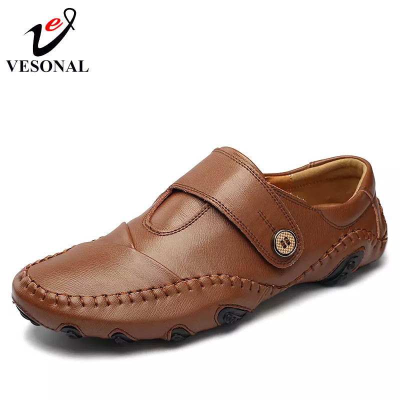 VESONAL Genuine Leather Breathable Light Soft Moccasins Male Loafers Shoes For Men Spring Summer Casual Driver Flats Footwear vesonal 2017 quality mocassin male brand genuine leather casual shoes men loafers breathable ons soft walking boat man footwear