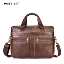 WEIXIER Hot Mens Simple Classic Multi-Function Genuine Leather Handbag Large-Capacity Design Fashion Business Travel