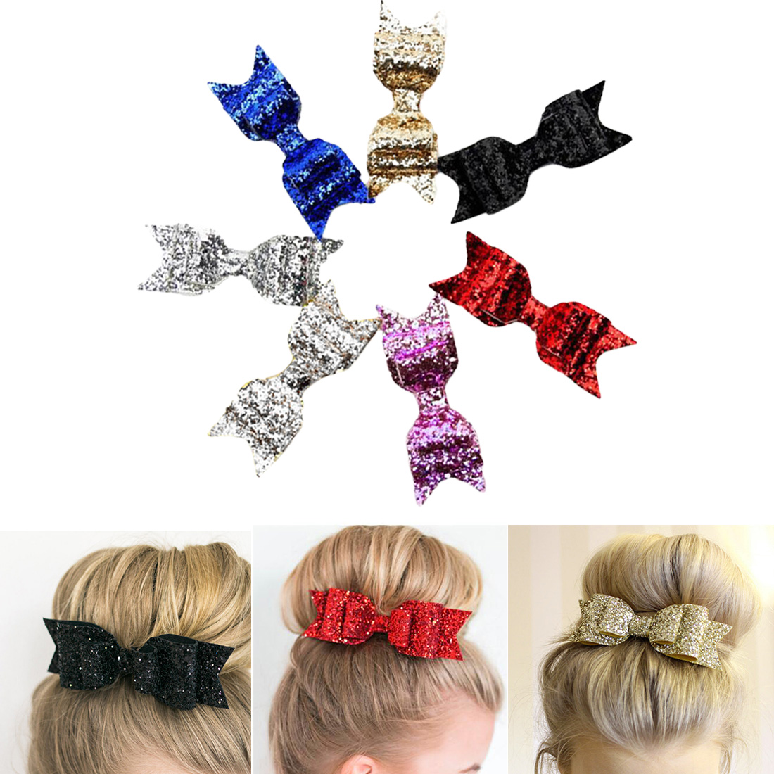 Women Girl Acrylic Bowknot Barrette Leather Hairpin Hair Clip Hair Accessory New