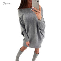 Autumn Long Sleeve Knit Sweater Dress Women Off The Shoulder Slash Neck Pullovers Pink Grey Winter