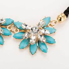 Black, Blue, Pink Or Yellow With White Rhinestone Flower Shaped Necklace