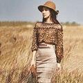 Mulheres primavera dress 2 peça terno chiffon leopardo camisa para fora oca e-cintura alta imitação camurça pacote hip bodycon vestidos