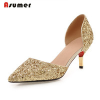 Asumer glitter thin heels pointed toe slip on women pumps large size 32 43 high heel party shoes gold silver white summer shoe