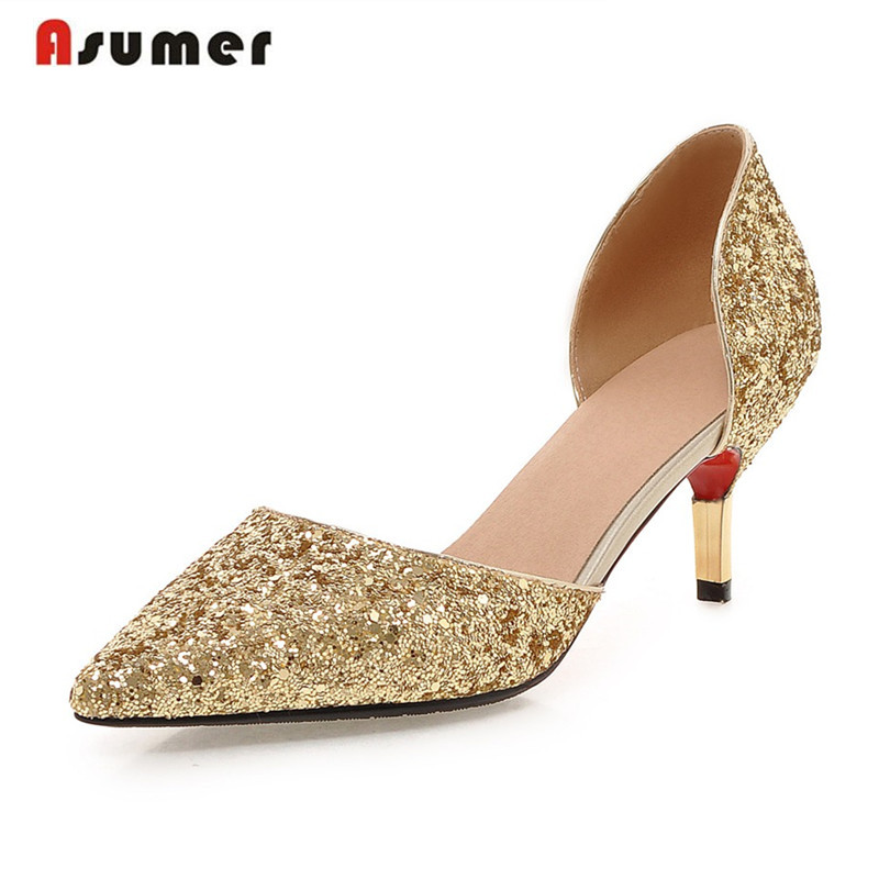 Asumer glitter thin heels pointed toe slip-on women pumps large size 32-43 high heel party shoes gold silver white summer shoe lady glitter high fashion designer brand bow soft flock plus size 43 leisure pointed toe flats square heels single shoes slip on