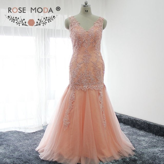 Rose Moda V Neck Lace Mermaid Prom Dress Peach Prom Dresses With