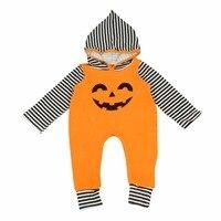 Puseky 2017 New Baby Halloween Pumpkin Hoodies Clothes Newborn Infant Warm Romper Jumpsuit 0-24M