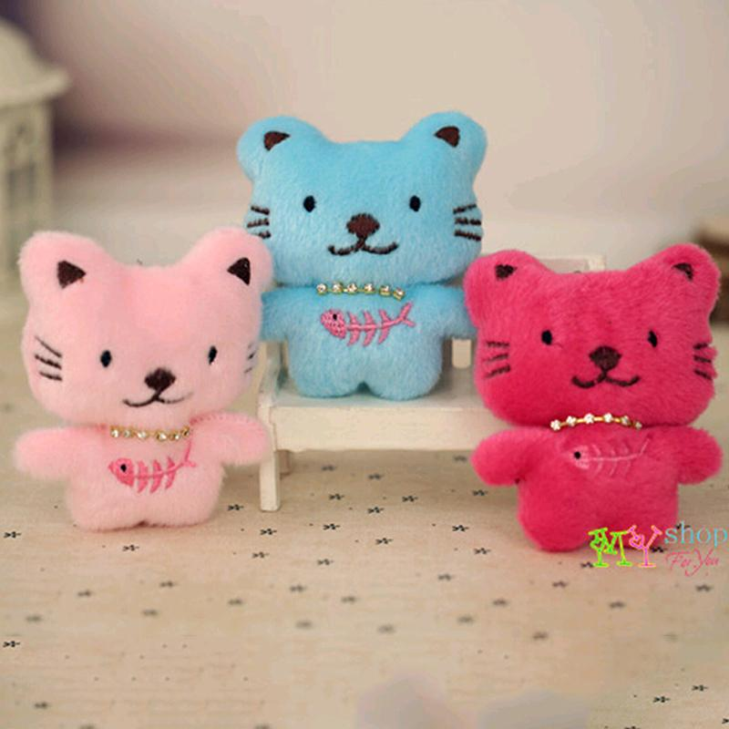 KAWAII Small Plush Fish Bone And Cats Pendant Toys For Kids Christmas Birthday Wedding Soft Doll Gifts For Phone FREE SHIPPING