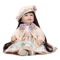 NPK 22inches Silicone laughing girl baby doll Reborn 55 CM bebe long hair girl dolls toys For Children's Day gift Mom Brinquedos