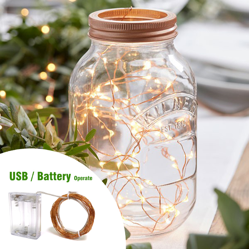 10M 100 LED String Light Battery LED Copper Wire String Holiday Outdoor Fairy Lights For Christmas Party Wedding Decoration