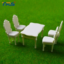 Teraysun 5 Sets White Color European Style Square Dining Table Chair Set Railway Model Train 1:25 G Scale