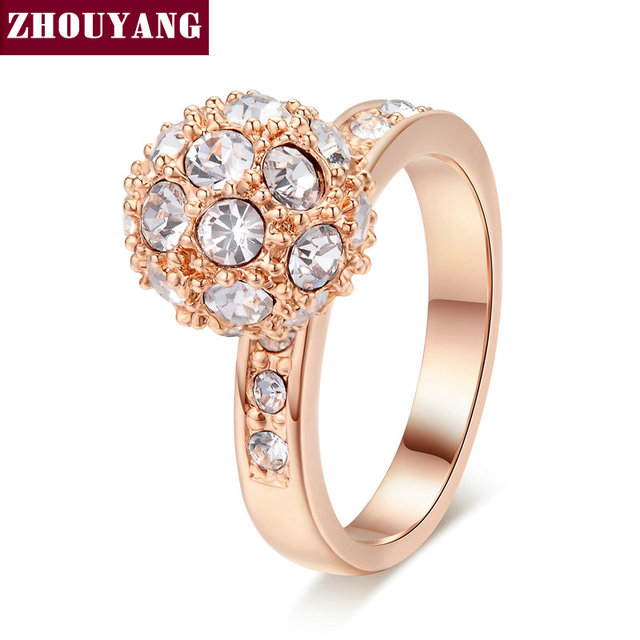 ZHOUYANG Top Quality ZYR024 Golden Ball Rose Gold Color Wedding Ring Austrian Crystals Full Sizes Wholesale