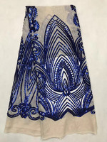 ZJL96!Royal Blue fantastic African net lace with sequins,wholesale French lace fabric,high quality net lace for party dress
