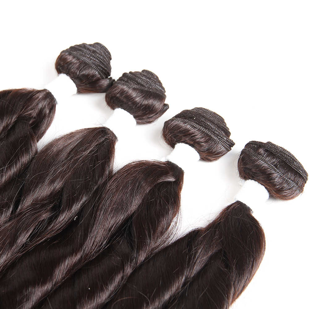 Ombre Black Brown Color Synthetic Hair Weave Bundles X-TRESS Funmi Curly Hair Weft Extensions 4 Bundles One Pack For Full Head