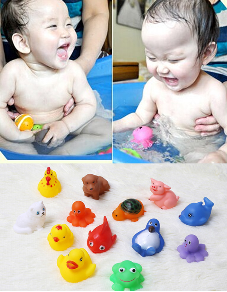 13pcs Infant Baby Girl Boy Kids Children Bath Toys Educational Toy Water Game Wholesale Wonderful Colorful Boys Girls Duck Toys