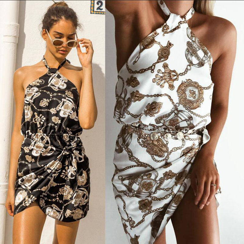 Mini Dress Limited Polyester Print Vadim 2019 New Summer Sexy Hanging Neck Straps Hollow Printed Halter Woman Plus Size